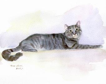 Custom Cat Portrait, Pet Portrait Painting, Cat Portrait Custom, Watercolor Portrait
