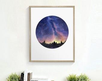 Starry night print, Starry sky print, Night Sky Print, Landscape Painting Print, Watercolor night sky, Watercolor Painting Print