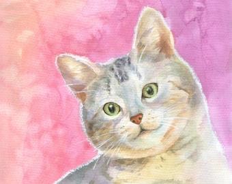 Pet Portrait Custom, Cat  Portrait painting, Original Watercolor,Painting From Photo, Portrait watercolor, Custom portrait