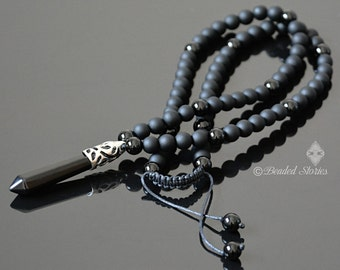 Mens necklace Protection necklace Long black necklace for men Onyx bead necklace Healing crystal jewelry Shamballa necklace New age jewelry