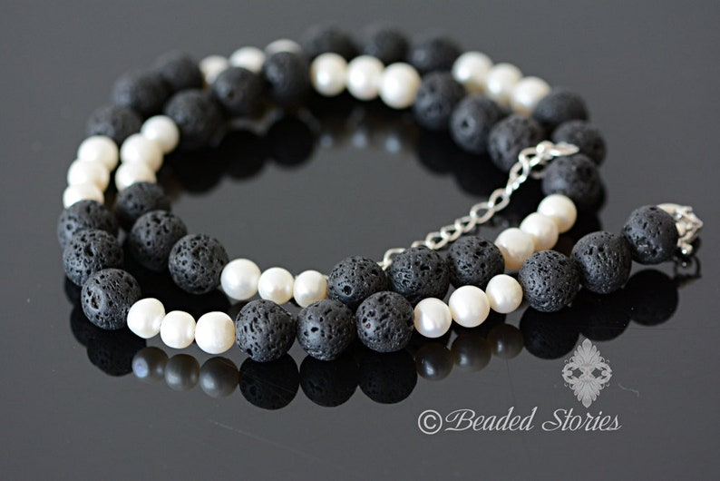 Women/'s necklace Pearl necklace June birthstone jewelry Lava necklace Black and white necklace  Boho necklace Classy necklace Gift for Her