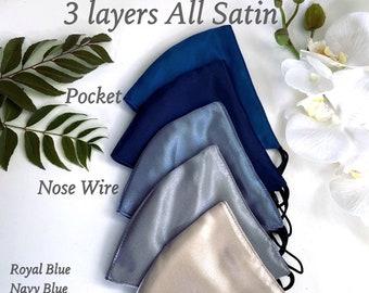 Blue Satin Masks Navy Indigo Royal Blue mask Bridesmaid Masks Wedding Mask Bridal Mask bride Face Mask Evening Masks FILTER NOSE Wire POCKET