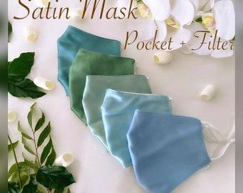 Jade Green Satin Face Masks Satin Fabric Mask bridal Party Face Masks wedding Masks Bridesmaid Masks Satin 2 layer Mask Filter Pocket Mask