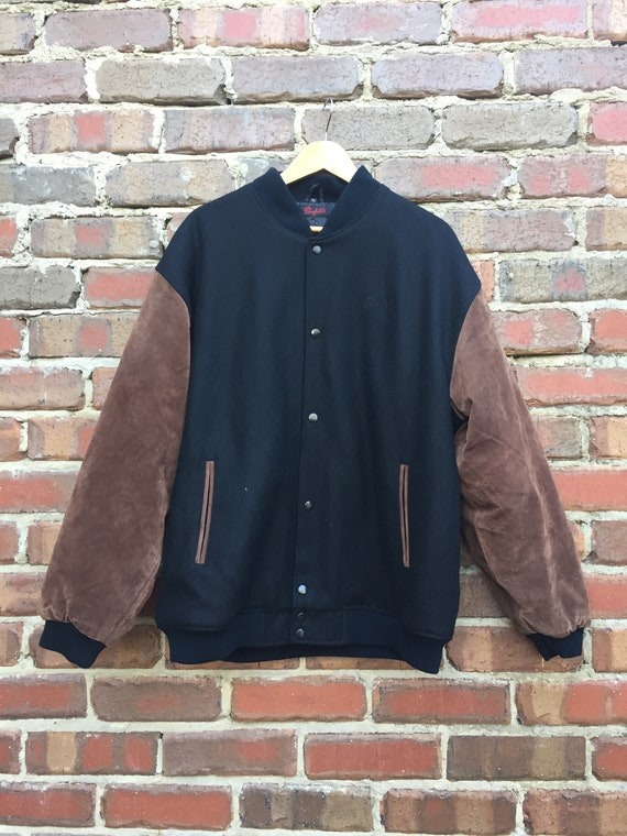 Men's Wool Bomber Jacket with Leather Suede Sleeve
