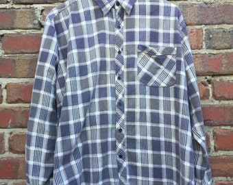 Mens Vintage White and Grey Flannel Shirt