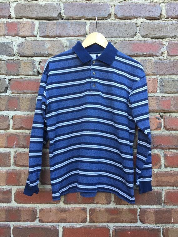 Mens blau Horizontal ausgezogen Langarm Polo Shirt