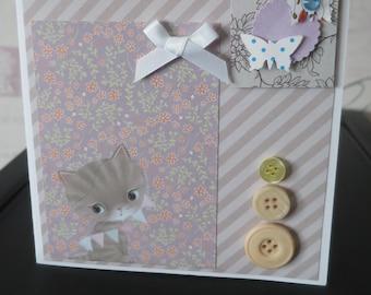 Handmade Happy Birthday Card Cats Kittens