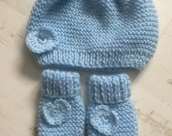 Baby Blue Hat and Mittens set 0 - 6 months