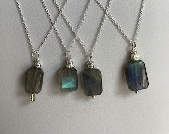 Blue or Purple Rectangular Shaped Aluminium Pendants with Labradorite or Fluorite Cabochon /& 17 Silver Plated Chains Hand Dyed