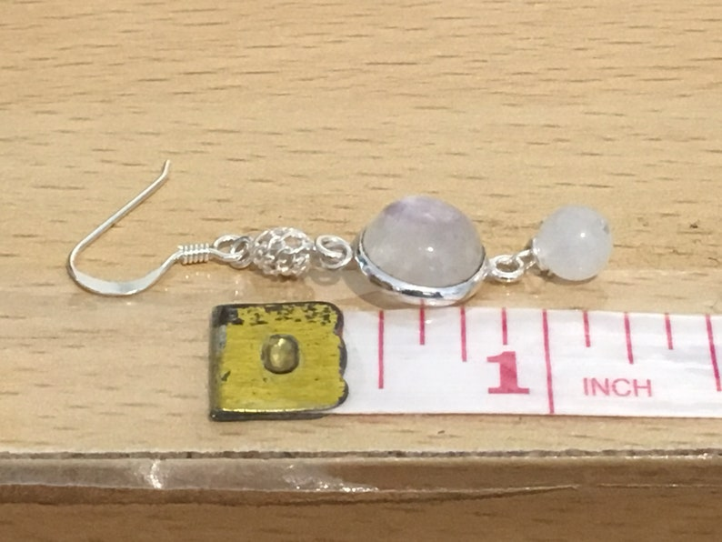 White Moonstone /& Silver Filigree Bead Dangle Earrings with Sterling Silver Hooks Sterling Silver Rainbow Moonstone Bezel