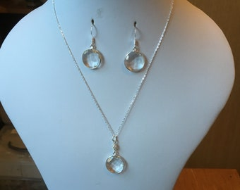 """Clear Quartz Faceted Circular Bezel with Sterling Silver Filigree Bead Pendant on a 16"""" Sterling Silver Chain with Matching Earrings"""