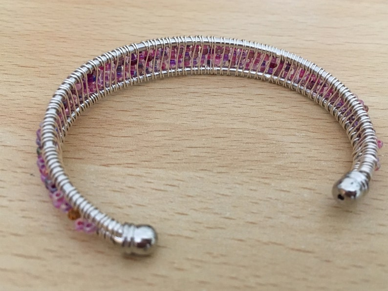 Adult Silver Plated Bracelet Frame with Threaded Wire Wrapped Pink or Peacock Shades of Seed Beads