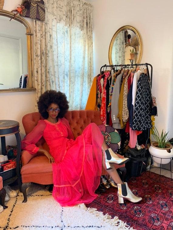 Bright Pink 70s Maxi Dress