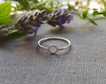 Simple Circle Ring, Silver Ring, Delicate, Thin Medium, Tiny Ring,  Geometric Ring