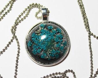 Necklace Silver Blossom Blue