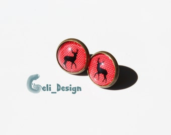 Cabochon earrings deer spotted black, red and white