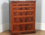 Antique English Georgian Sheraton Style Flame Mahogany Satinwood Inlaid Chest of Drawers (Circa 1900)