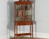 Antique Georgian Sheraton Style Marquetry Inlaid Satinwood and Mahogany Serpentine Glass Display Cabinet Edwards Roberts (Circa 1890)