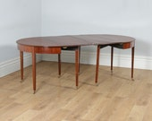 Antique English Georgian Mahogany and Satinwood Ebony Inlaid Round Extendable D End Dining Table (Circa 1810)