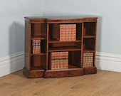 Vintage English Georgian Style Small Burr Walnut Breakfront Inlaid Bookcase (Circa 1980)