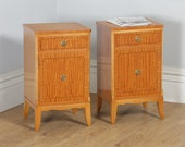 Pair of Georgian Regency Neoclassical Style Satinwood Ebony Bedside Cabinet Tables Nightstands (Circa 1970)