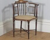 Antique English Edwardian Mahogany Inlaid Satinwood Marquetry Salon Corner Arm Chair (Circa 1900)