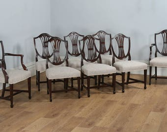 Antique Set Of 8 English Georgian Hepplewhite Style Mahogany Dining Chairs  (Circa 1850)