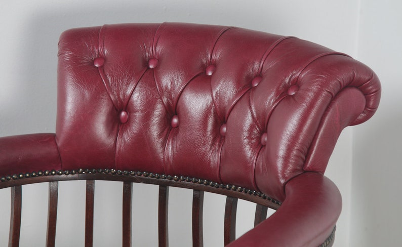 Circa 1900 Antique English Edwardian Mahogany /& Red Leather Revolving Office Desk Arm Chair