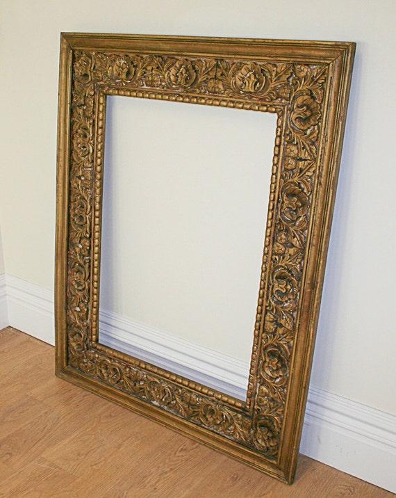 Large Antique Style Carved Ornate Vintage Gilt Wood Mirror   Etsy