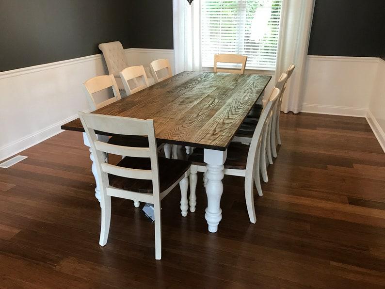 Incredible Oak Farm House Table W White Chunky Turned Legs Interior Design Ideas Gentotryabchikinfo