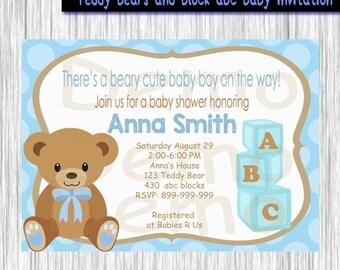 teddy bear invite etsy