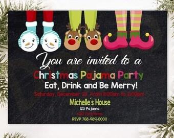 Christmas pajama party invitations   Etsy