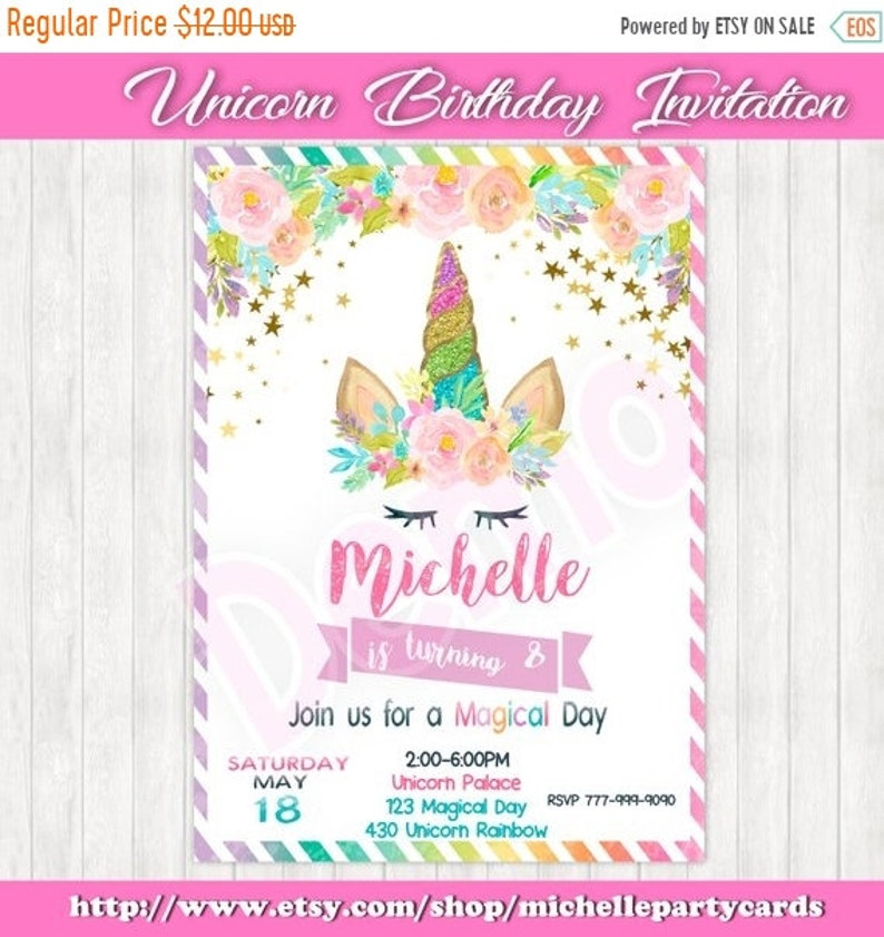 55off Unicorn Birthday Invitation Magical Day