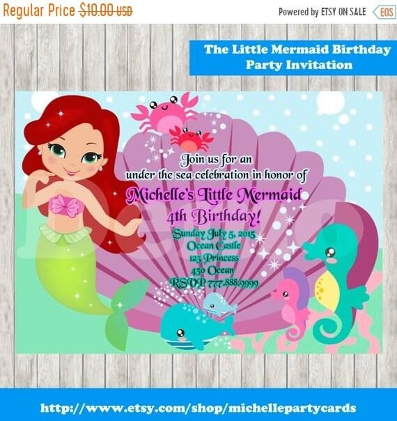50Off The Little Mermaid Birthday Party Invitation Ariel