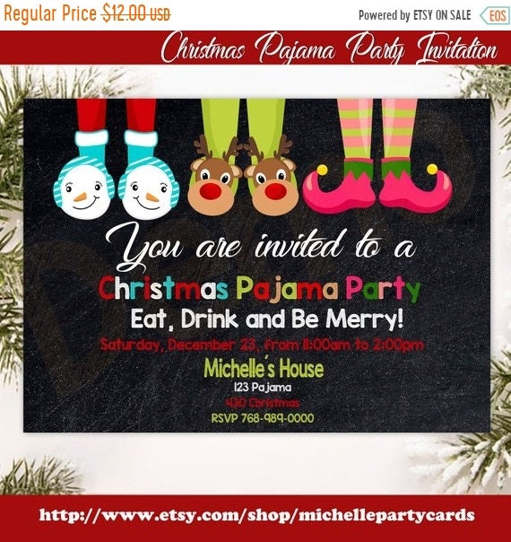 50 off christmas pajama party invitation chalkboard christmas etsy