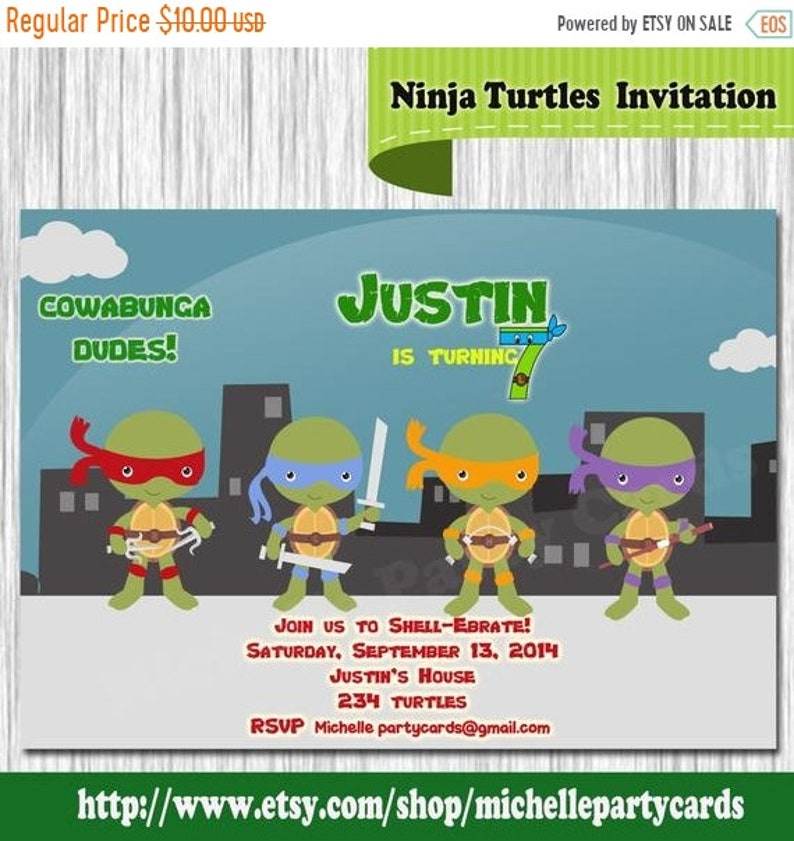 55off Ninja Turtles Invitation Birthday Invite