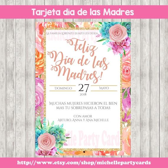 Tarjeta Día De Las Madres Tarjeta En Español Invitación Flores Rosas Tarjeta Para Fiestas Día De Las Madres Feliz Día De Las Madres