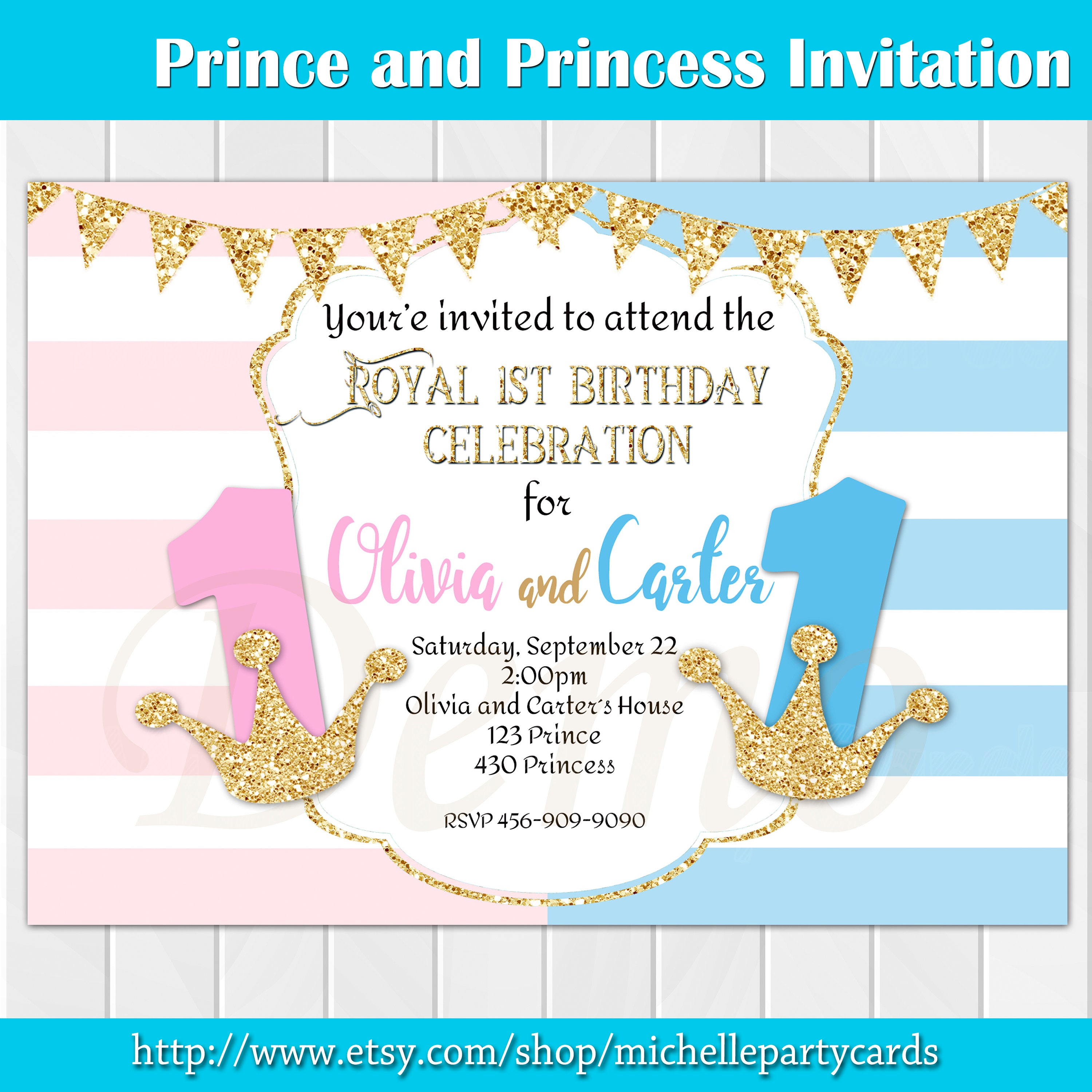 Prince and Princess Invitation Twins Birthday Twins Party | Etsy