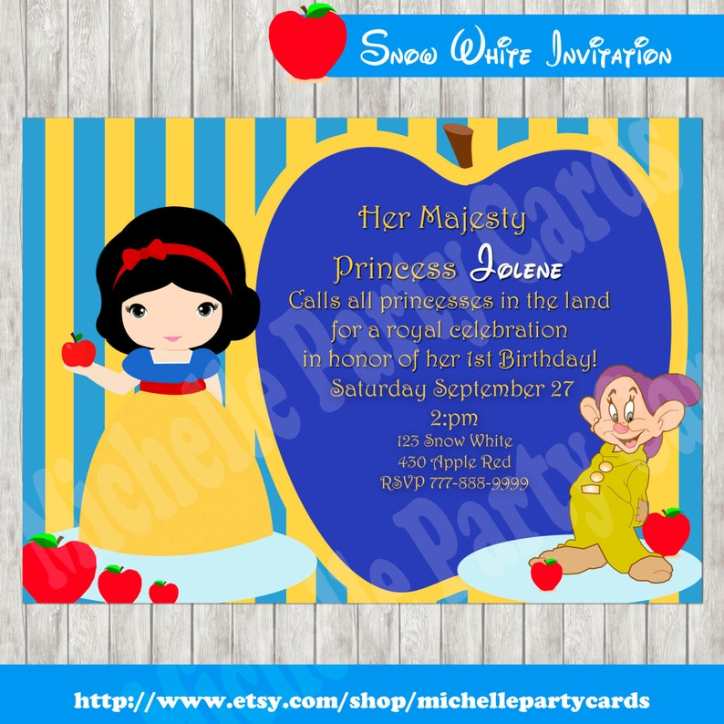 photograph about Snow White Invitations Printable known as Snow White Invitation PRINTABLE - Princess Birthday Invite for Females-Snow invitation-apple occasion-snow white birthday celebration