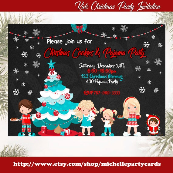 Christmas Cookie Party Invite.Kids Christmas Party Invitation Christmas Morning Invite Christmas Pajama Party Christmas Cookies Party Pajama Invitation Christmas