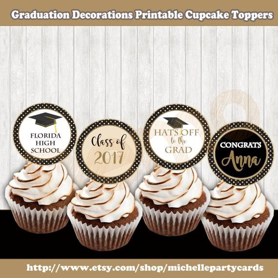 image relating to Printable Graduation Decorations identify Commencement Decorations, Printable Cupcake Toppers, Commencement Toppers Cupcake, Commencement Stickers, Celebration, Commencement Gold and black