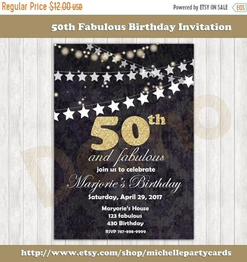 55off 50th Fabulous Birthday Invitation 60th 70th 80th 90th Party Invite P