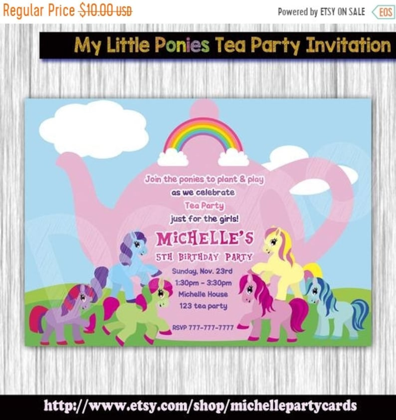 55off My Little Pony Tea Party Invitation Ponies Birthday Cards