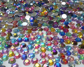 500 Mixed Colours Flat Back Diamante Crystal Gems cd71f1a46ace