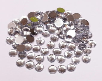 245c2d794589 Crystals   Gems Uk 500 X 8Mm Clear Faceted Diamante Rhinestones Gems  Crystals Flat Back Stick On With Glue