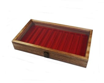 Rustic Key Lock Dark Oak Stained Wood Glass Top Ring Display Case Pick Pad Color