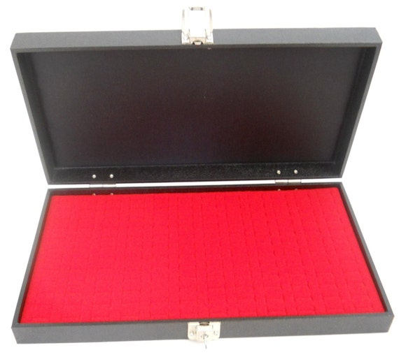 1 Wholesale Glass Top Lid Red 72 Ring Display Portable Storage Boxes Case