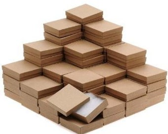 """New Kraft Cotton Filled Jewelry Display Packaging Gift Boxes 3 1/2"""" x 3 1/2"""" x 1""""  - 4 8 16 32 48 100 200 500 Pcs"""