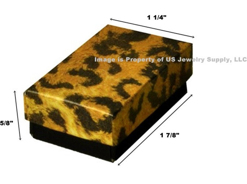 """LOT OF 100 LEOPARD COTTON FILLED BOX JEWELRY GIFT BOXES RING BOX 1 7//8/"""" x 1 1//4/"""""""