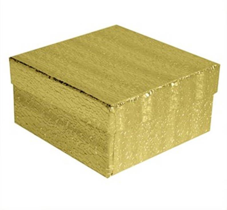 "NEW 100 Gold Foil Cotton Filled Gift Boxes 3 1//2/"" X 3 1//2 Pendant Bangle Box"